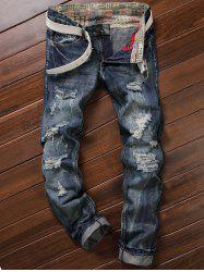 Frayed Zipper Fly Five-Pocket Straight Leg Ripped Jeans - DEEP BLUE