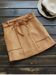 Belted Faux Suded Skirt With Pockets
