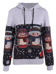 Night Owl Jacquard Christmas Hoodie - GRAY S