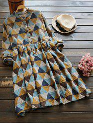 Stand Neck Long Sleeve Argyle Dress -