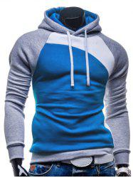 IZZUMI Paneled Raglan Sleeve Drawstring Hoodie - GREY AND WHITE AND BLUE