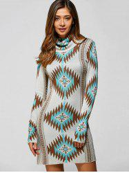 Turtle Neck Tribal Sweater Dress - LIGHT GREEN