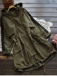 Hooded Drawstring Field Trench Coat - ARMY GREEN L