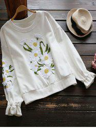 Crew Neck Floral Applique Sweatshirt -