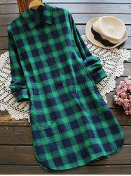Pocket Plaid Shirt Dress