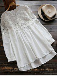 Lace Panel High Low Long Sleeve Mini Dress - WHITE