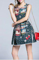 Snowflake Owl Flare Dress