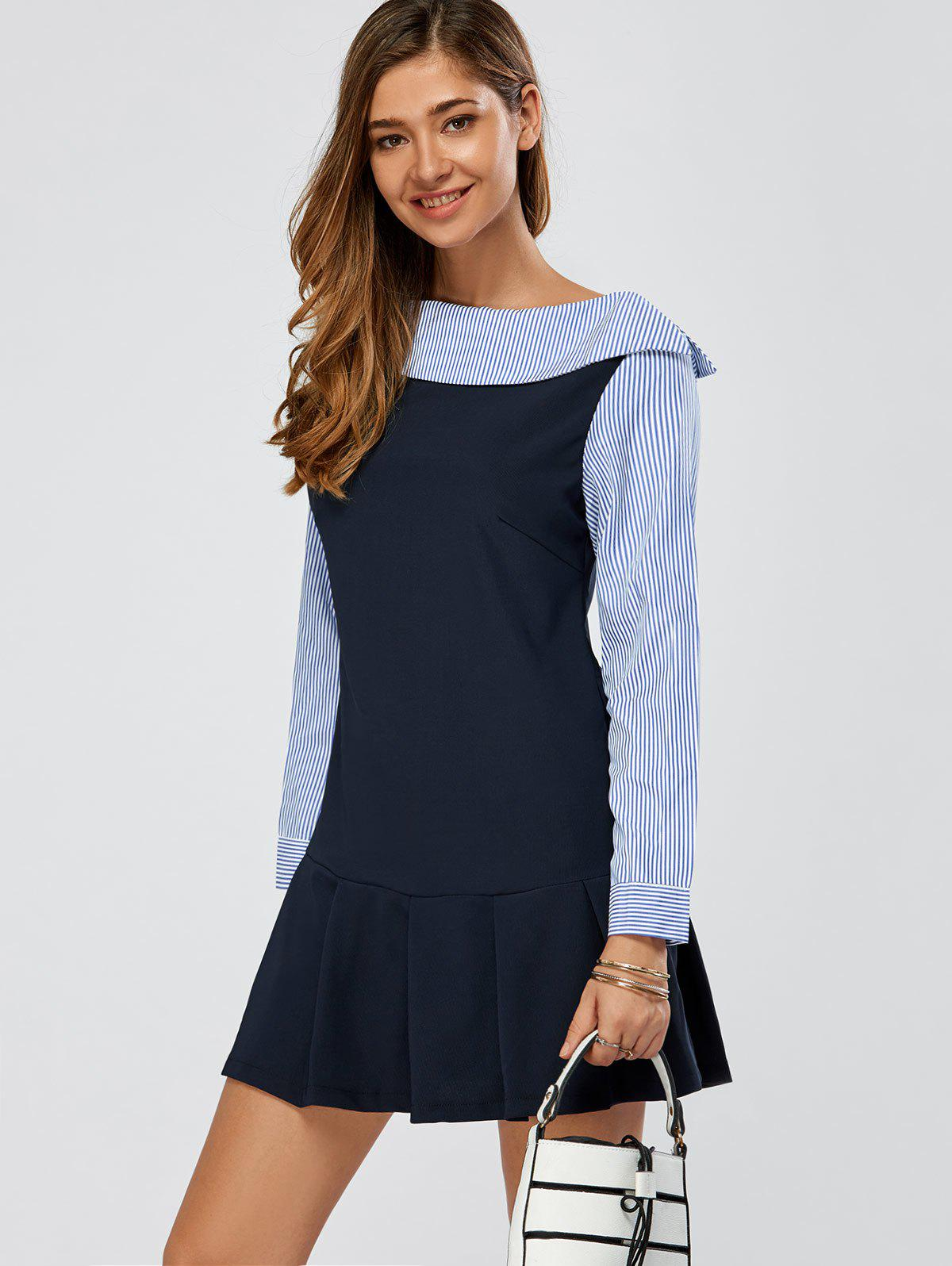Affordable Striped Panel Long Sleeve Pleated Work Dress