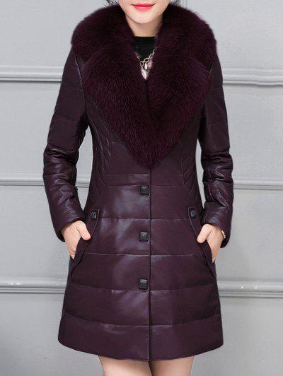 Sale Fur Collar Faux Leather Padded Coat