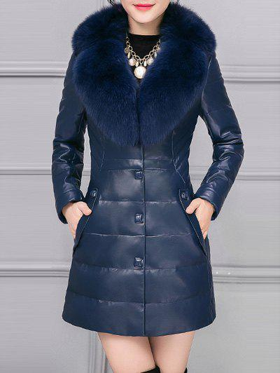 Shop PU Leather Detached Fur Quilted Coat