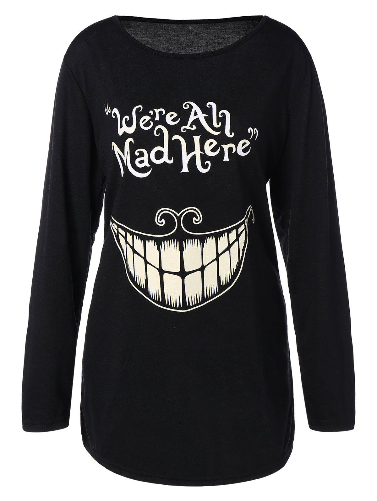 Plus Size Teeth and Letter Print T-shirtWOMEN<br><br>Size: L; Color: BLACK; Material: Polyester,Spandex; Shirt Length: Long; Sleeve Length: Full; Collar: Jewel Neck; Style: Casual; Season: Fall,Spring; Pattern Type: Letter; Weight: 0.2510kg; Package Contents: 1 x T-Shirt;