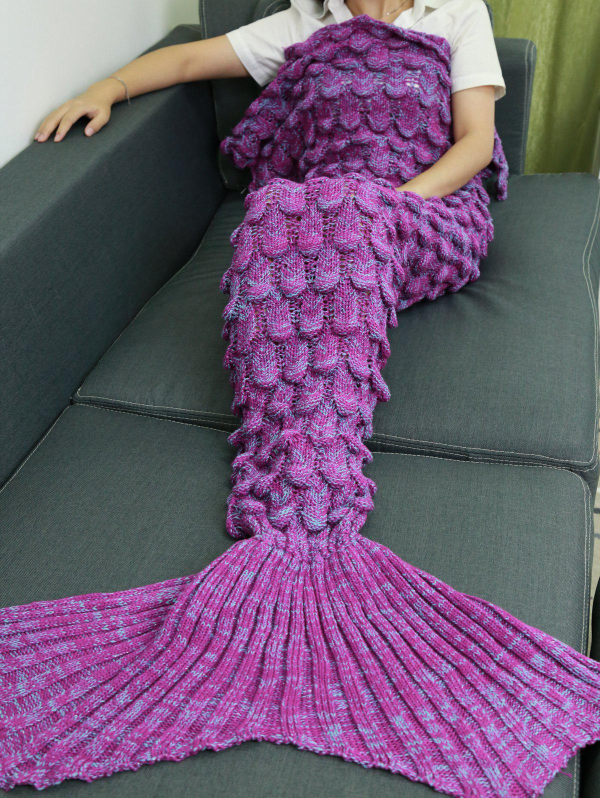 2018 Knitting Fish Scales Design Mermaid Tail Style Blanket In Light Purple Rosegal Com