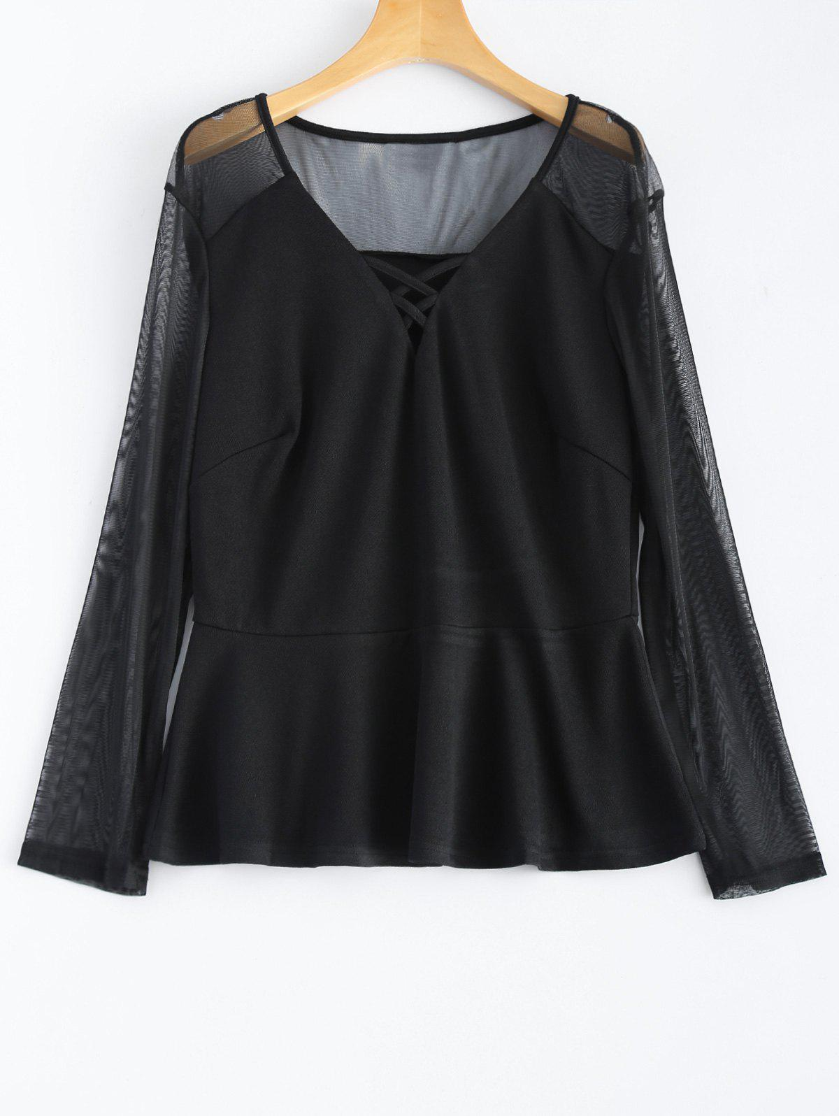 Fancy Plus Size Mesh Criss Cross Blouse