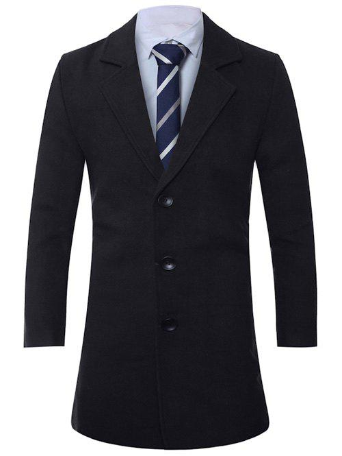 Store Lapel Single-Breasted Lengthen Wool Coat