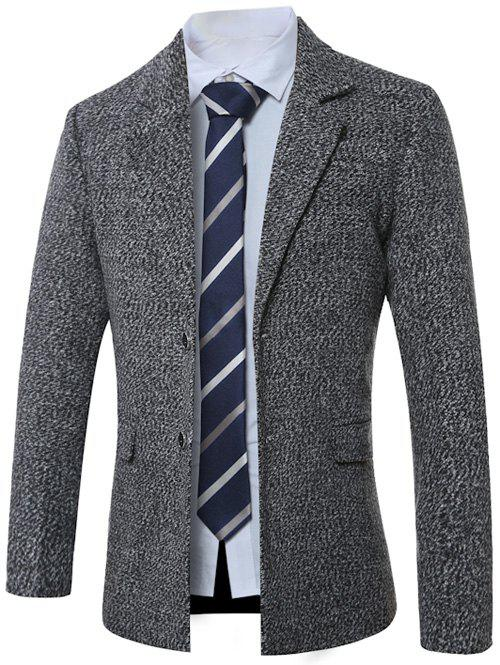 Lapel Single-breasted Cotton Blends Manteau en laine Gris M