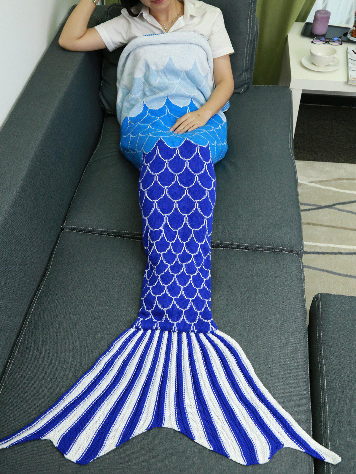 Shops Ombre Color Knitting Fish Scales Design Mermaid Tail Style Blanket