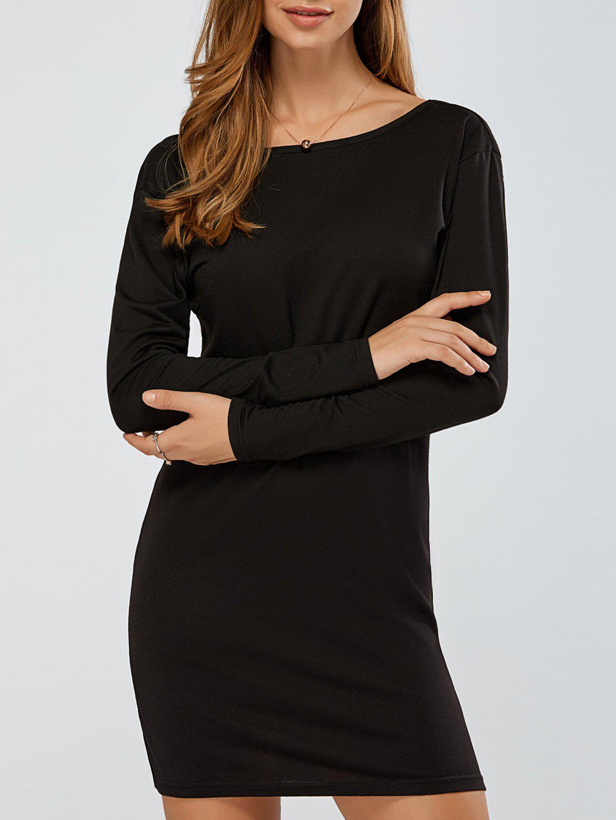 Fancy Long Sleeves Backless Knitted Dress