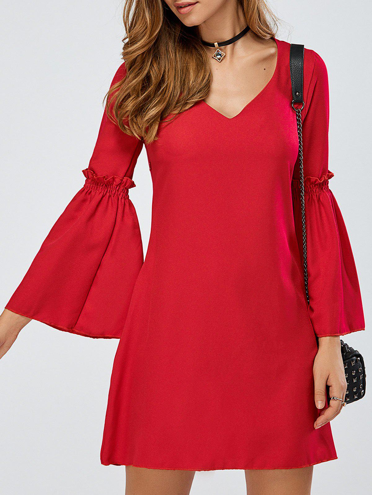 Fashion V-Neck Bell Sleeve Ruffle Short A Line Dress