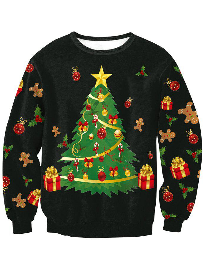 Christmas Tree SweatshirtWOMEN<br><br>Size: M; Color: BLACK; Material: Spandex; Shirt Length: Regular; Sleeve Length: Full; Style: Fashion; Pattern Style: Print; Season: Fall,Spring,Winter; Weight: 0.319kg; Package Contents: 1 x Sweatshirt;