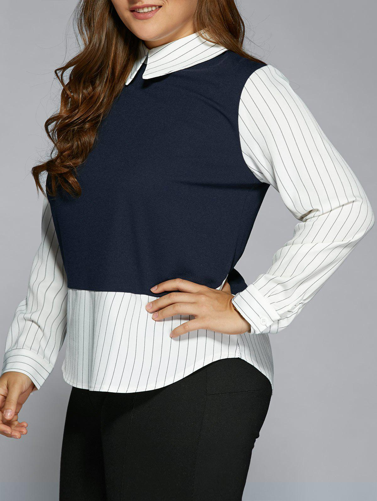Plus Size Stripe Color Block Faux Twinset ShirtWOMEN<br><br>Size: 3XL; Color: PURPLISH BLUE; Material: Polyester; Shirt Length: Regular; Sleeve Length: Full; Collar: Flat Collar; Style: Fashion; Season: Fall,Spring,Winter; Embellishment: Zippers; Pattern Type: Striped; Weight: 0.410kg; Package Contents: 1 x  Shirt;