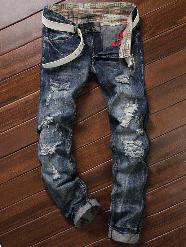 Frayed Zipper Fly Five-Pocket Straight Leg Ripped JeansMEN<br><br>Size: 34; Color: DEEP BLUE; Material: Jeans; Pant Length: Long Pants; Wash: Bleach; Fit Type: Straight; Waist Type: Mid; Closure Type: Zipper Fly; Weight: 0.5020kg; Pant Style: Straight; Package Contents: 1 x Jeans;