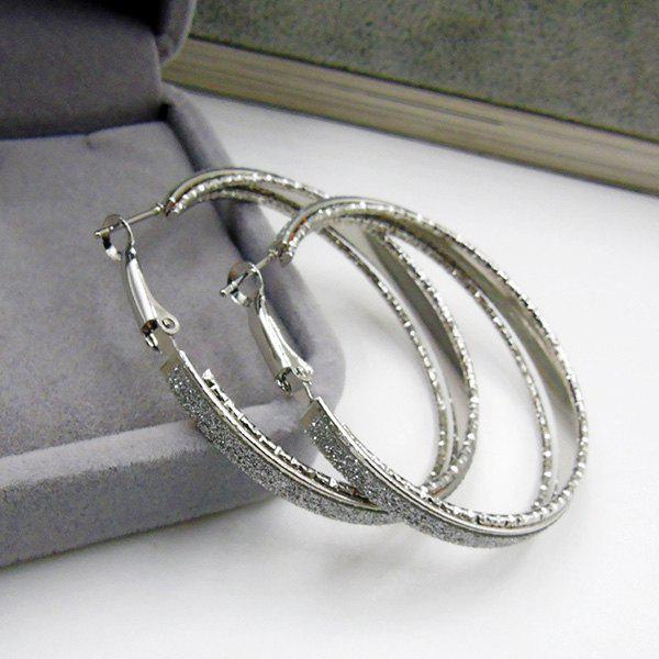 Dull Polished Circle Hoop EarringsJEWELRY<br><br>Color: SILVER; Earring Type: Hoop Earrings; Gender: For Women; Style: Hipster; Shape/Pattern: Round; Diameter: 5.5CM; Weight: 0.040kg; Package Contents: 1 x Earring (Pair);
