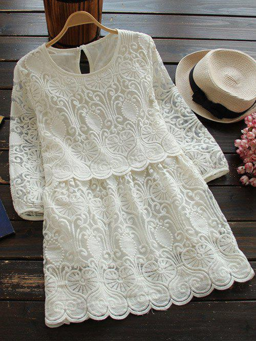 Store Round Neck 3/4 Sleeve Embroidered Mini Dress