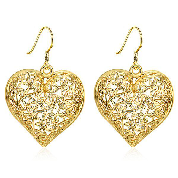 Filigree Floral Heart Drop EarringsJEWELRY<br><br>Color: GOLDEN; Earring Type: Drop Earrings; Gender: For Women; Style: Noble and Elegant; Shape/Pattern: Heart; Weight: 0.030kg; Package Contents: 1 x Earring (Pair);