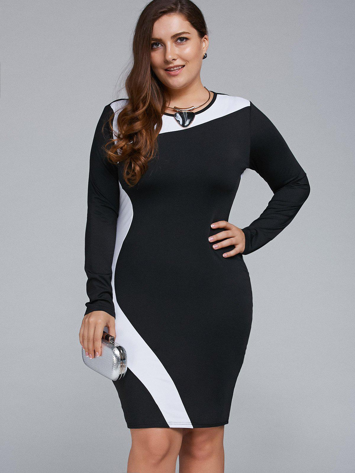 White 2xl Plus Size Long Sleeve Bodycon Business Dress | RoseGal.com