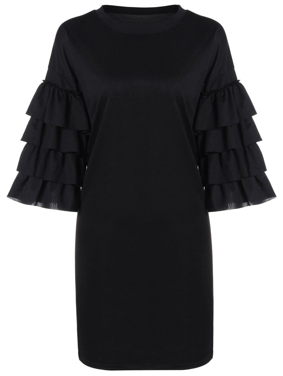 Unique Loose Tiered Bell Sleeve Dress