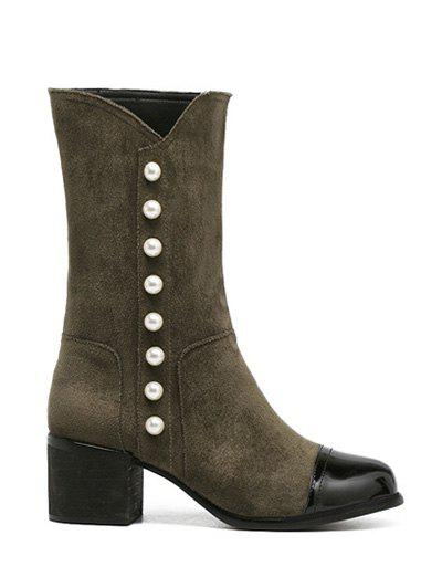 Fancy Flock Faux Pearls Splicing Mid-Calf Boots