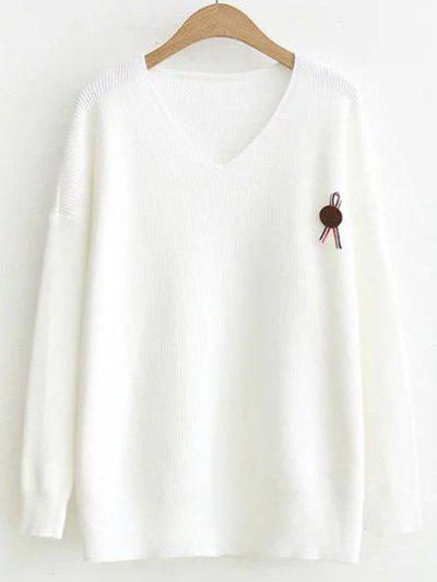 High-Low V Neck Sweater Ripped Blanc Taille Unique
