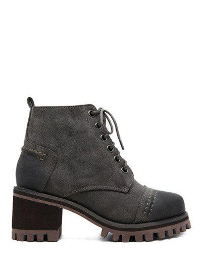 Online Lace-Up Chunky Heel Platform Ankle Boots