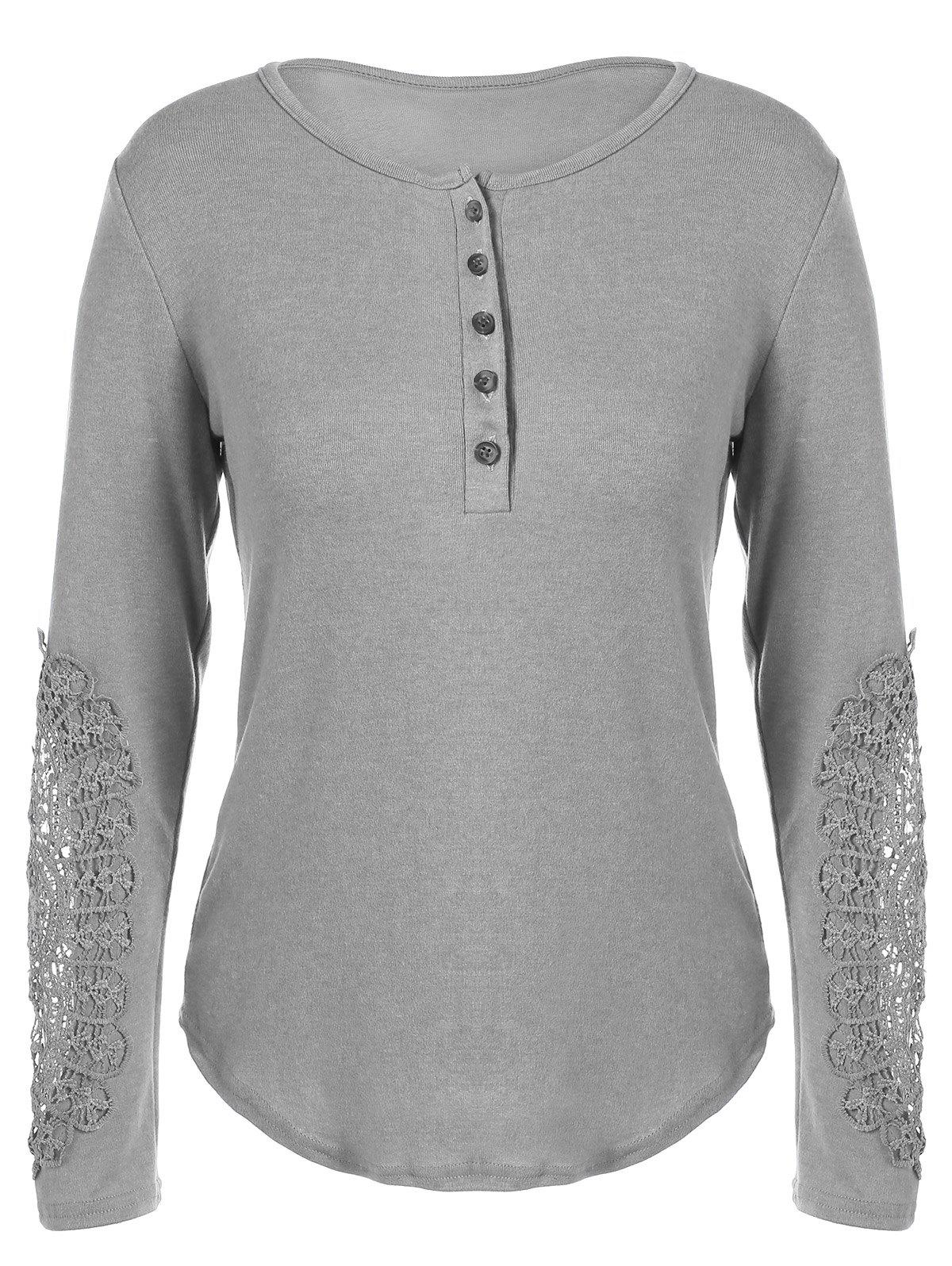 Discount Concise Openwork Lace Buttons T-Shirt