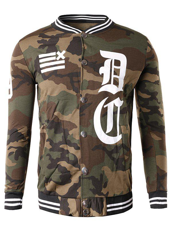 Button Up 99 Imprimer Camouflage Veste Café L
