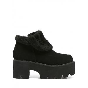 Platform Chunky Heel Zipper Ankle Boots - Black - 38