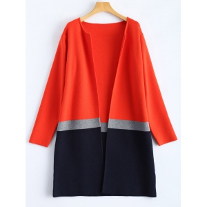 Color Block Knit Woolen Overcoat