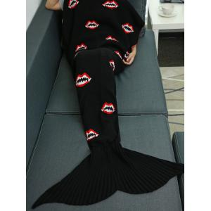 Mouth Pattern Knitted Mermaid Tail Blanket - Black - W31.50inch*l70.70inch