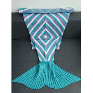 High Quality Geometry Pattern Crochet Knitted Mermaid Tail Blanket - Colormix - 180*90cm