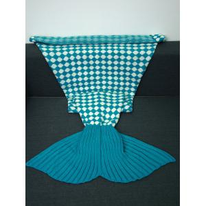 Warmth Inclined Plaid Pattern Knitted Mermaid Tail Blanket - Lake Blue - M
