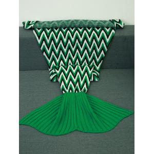 Geometric Jacquard Knitted Mermaid Tail Blanket