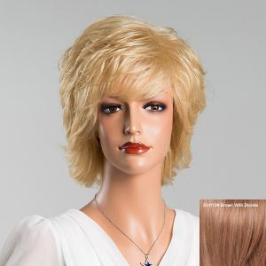 Medium Layered Oblique Bang Straight Human Hair Wig