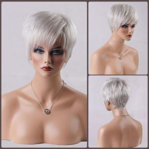 Short Oblique Bang Straight Real Natural Hair Wig