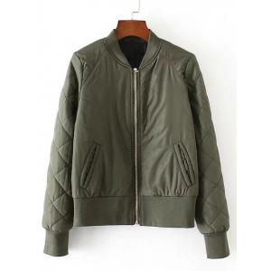 Zip-Up Fitting Quilted Winter Bomber Jacket - Army Green - M