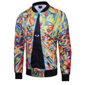 Abstract Print Zip Up Raglan Sleeve Jacket - Colormix - M