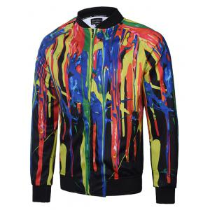 Colorful Paint Dripping Printing Zip Up Raglan Sleeve Jacket - Colormix - M