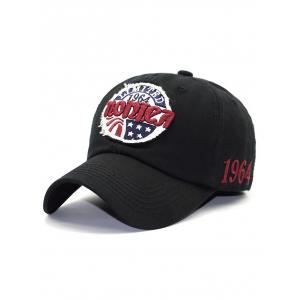 Letter Star Embroidery Patch Baseball Hat - Black - M