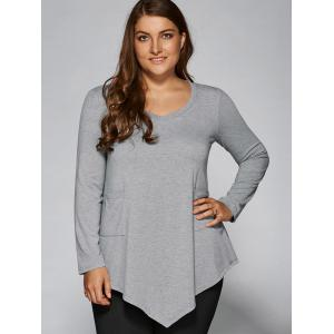 Plus Size One Pocket Asymmetrical Blouse
