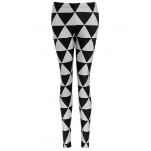 Triangle Print Bodycon Leggings - Gun Metal - M