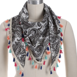 Outdoor Arab Print Colorful Tassel Chiffon Triangle Scarf - Gray - L